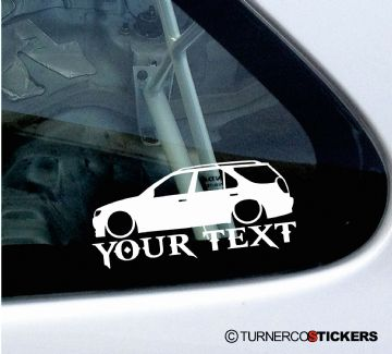 2x Custom YOUR TEXT Lowered car stickers - Peugeot 306 SW estate wagon